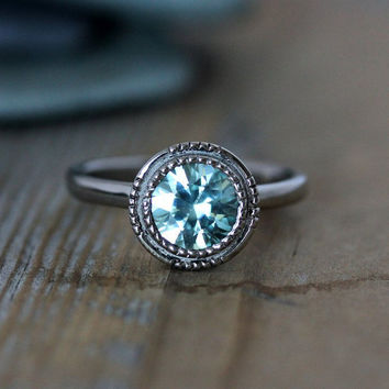 Size 7.25 Ready To Ship, Blue Zircon Vintage Inspired Art Deco Gemstone Engagement Ring in 14k Palladium White Gold