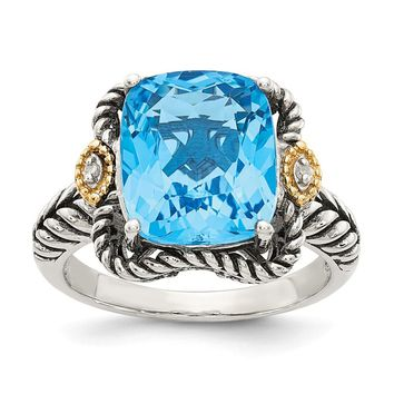 Sterling Silver Two Tone Silver And Gold Plated Sterling Silver w/Antiqued Lt Swiss Blue Topaz and Diamond Ring