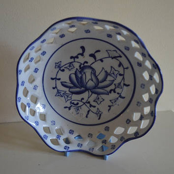 Blue and white handpainted ceramic bowl/pierced design/pottery fruit bowl/UK seller/ships worldwide