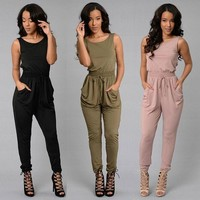 Hot Sale Women's Fashion Sexy Sleeveless Shaped Pants Jumpsuit [8096509383]
