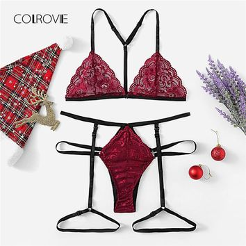 42fb5b12300 COLROVIE Burgundy Solid Scalloped Garter Sexy Floral Lingerie Se