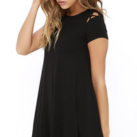 Take Effect Black Swing Dress