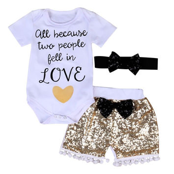 3Pcs Baby Girl Clothing Set Summer Short Sleeve Tops Bodysuits Sequin Pants Shorts Bow Outfits Set Clothes Baby Girls