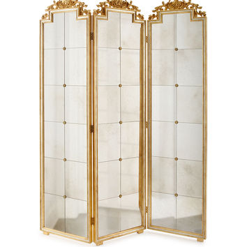 Gia Three-Panel Mirrored Screen