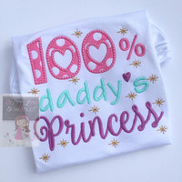 Father's Day Shirt or bodysuit for girls - Daddy's Princess -- aqua, pink, lavender and gold applique -- exclusive design by Darling Little