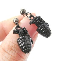 Realistic Hand Grenade Bomb Ammo Shaped Dangle Drop Stud Earrings in Black