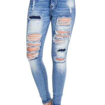 High-Rise Destroyed Skinny Jeans RJH819 - CC1C