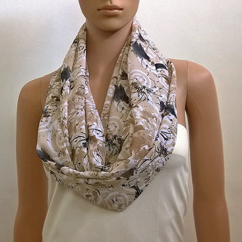 Long Infinity Scarf Shawl Beige Fashion Scarves for Women Chunky Tube Scarf Circle Cowl Scarf Loop Summer Scarf Gift for her Accessories