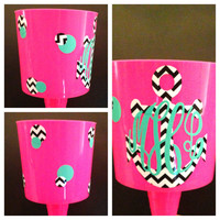 Anchor Beach Spiker - Neon Pink Blue Green Orange - Can Be Customized With Your Name or Monogram