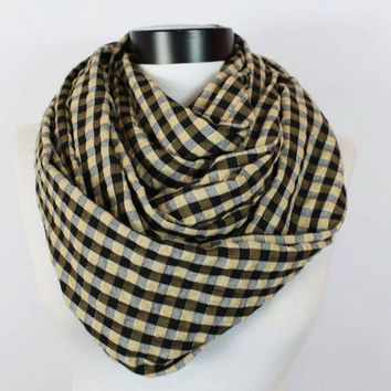 plaid infinity scarf, scarf, scarves, long scarf, loop scarf, gift