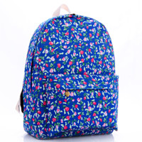 Blue Flower Printed Canvas Backpack College School Bag Travel Daypack