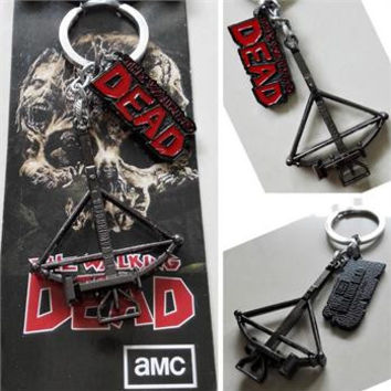 The Walking Dead Daryl Dixon Crossbow And Logo Metal Keychain