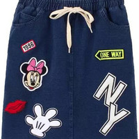 Dark Blue Applique Denim Skirt