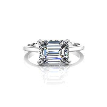 14K White Gold Emerald Cut Moissanite Solitaire Engagement Ring