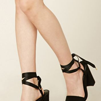 Faux Suede Ankle Wrap Heels
