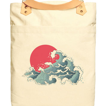 The Great Wave Kanagawa-1 Print Cotton Canvas Leather Straps Backpack WAS_34