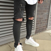 Designer Destroyed Skinny Jeans w/Ankle Zipper