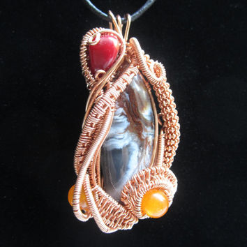 Copper Wire Wrapped Jewelry, Stone Pendant, Copper Amulet, Indie Jewelry