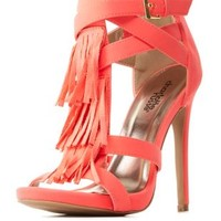T-Strap Fringe Dress Sandals by Charlotte Russe