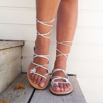 gladiator sandals, white sandals, wedding sandals, leather sandal, lace up sandal