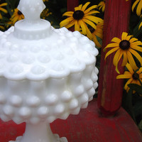 Hobnail White Milk Glass Pedestal Compote and Lid, Vintage Fenton Glass, Lidded Ruffled Candy Dish