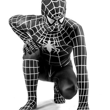 high quality Black Spiderman costume adult Halloween costumes for men Spandex carnival SuperHero cosplay BodySuit