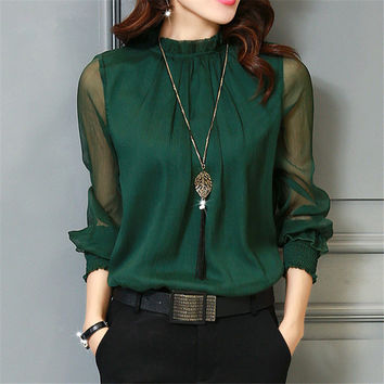 Chiffon Long Sleeve Stand Neck Work Wear Blouse