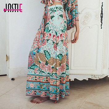 Jastie lotus Maxi Split Skirt Cotton Floral Print Boho Chic Beach Skirts High Waist Long Skirt 2018 Spring Summer Women Skirts