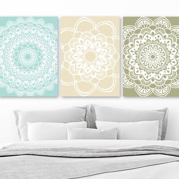 Mandala Wall Art, Aqua Beige Green BATHROOM Wall Decor, CANVAS or Print Mandala Medallion Wall Art, Aqua Beige Bedroom Wall Decor, Set of 3