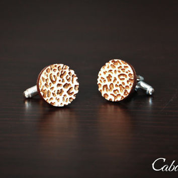 Personalized Wood Engraved Cheetah Print Cufflinks ~ Gift For Him, Weddings, Anniversary, Holiday