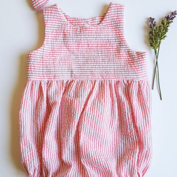 pink seersucker romper, pink and white baby romper, summer romper, baby romper, new baby gift, baby girl shower gift, girls clothes