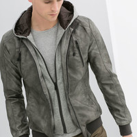 FAUX LEATHER JACKET WITH MARL HOOD