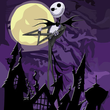 Halloween Purple Sky with jack skellington iPhone 4 4s 5 5c, ipod, ipad, pillow case tshirt and mugs Art Print by Three Second