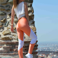 Handmade Orange - White Leggings Athletic Bottoms Gym Clothes Stretch Leggings Spandex Fabric Sexy Leggings Yoga Halloween Thanksgiving Gift