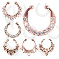 Rosegold Clicker Fake Septum Piercing Crystal Hollow Nose Ring For Women