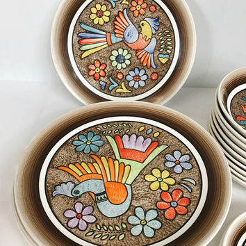 Vintage Cuernavaca Mexican Folk Art Dining Set Plates Bowls Sala  sc 1 st  Wanelo & Shop Mexican Bowl on Wanelo