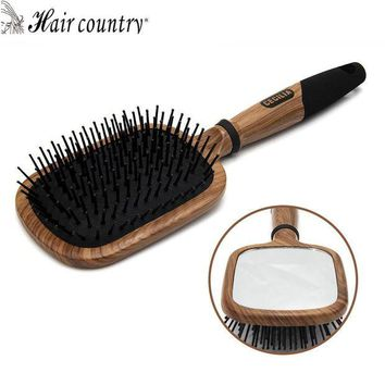LMFONHC Hair Country Mirror Hair Comb Wooden Handle Makeup hair brush Professional Hair care Styling tools