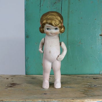 "Vintage Bisque Flapper Doll with Jointed Arms * Circa 1920s or 1930s * 5-3/4"" Tall * Made in Japan"