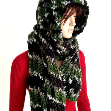 Unisex Camouflage Crochet Scoodie. Hooded Scarf. Chunky Hooded Winter Scarf. Free US shipping