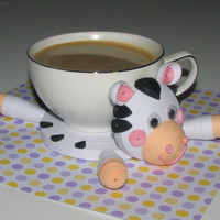 Coasters for drinks Cute zebra Stand for the cup Cup Stands Cup pad Kitchen's decoration Stand cup Cup coaster Quilling art
