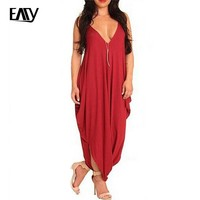 Red Jumpsuit for Women Rompers Womens Jumpsuit Long Pants Plus Size XL One Piece Solid Black Sleeveless V-neck Sexy Rompers 2017
