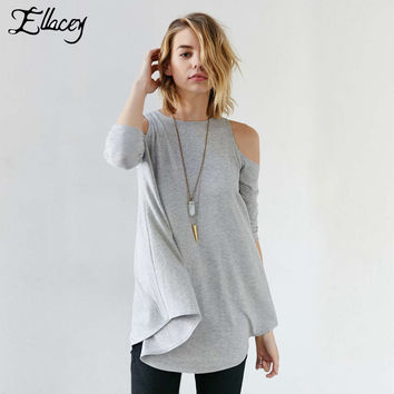 New Arrival 2016 Spring Summer Women T-shirts Three Quarter Sleeve Casual Loose Tee Tops Simple Fashion Off The Shoulder T Shirt
