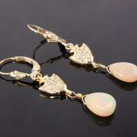 14kt Gold-Filled Welo Opal Earrings