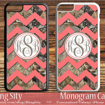 Camo Coral Chevron Monogram iPhone 5C 6S Plus Case iPhone 5s 4 case Ipod Realtree Custom Cover Zig Zag Personalized Country Inspired Girl