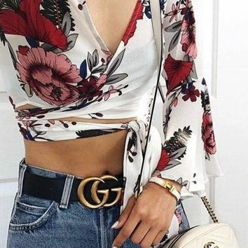 GUCCI Fashion Woman Men Casual Metal Smooth Buckle Leather Belt I-1