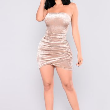 Beating Heart Velvet Dress - Champagne