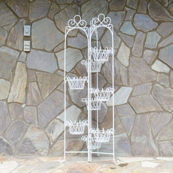 Vintage White Vinyl Coated Metal Plant Stand FLOWER POT HOLDER,  Retro Jardiniere Stand, Indoor and Outdoor Garden Decor