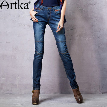 Artka Women's 2015 Autumn New Vintage Spliced Cotton Solid Color Jeans Casual Full Length Pants KN14158C