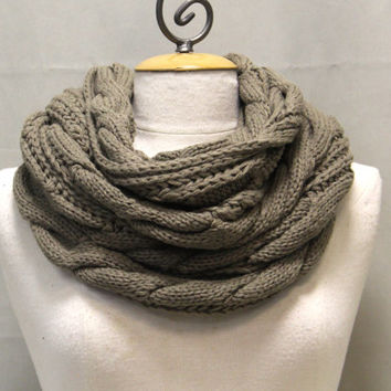 Tan knit cable knit infinity scarf Tan brown SC31