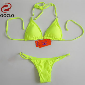 Micro Bikini Sexy Solid Bandeau swimwear triangle pin up mini halter swimsuit thong & top  bikini set